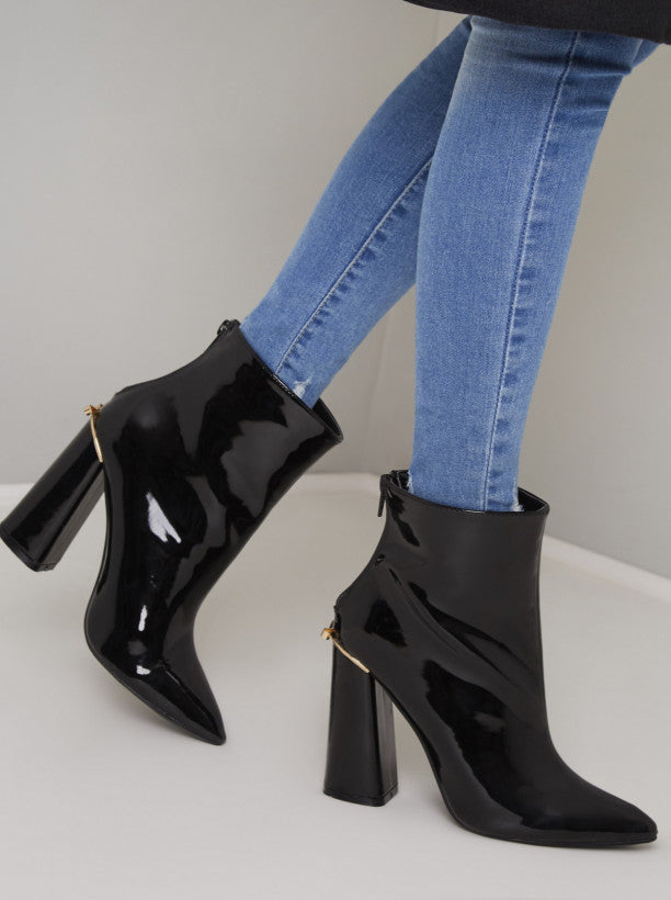 Block Heel Patent Ankle Boots in Black