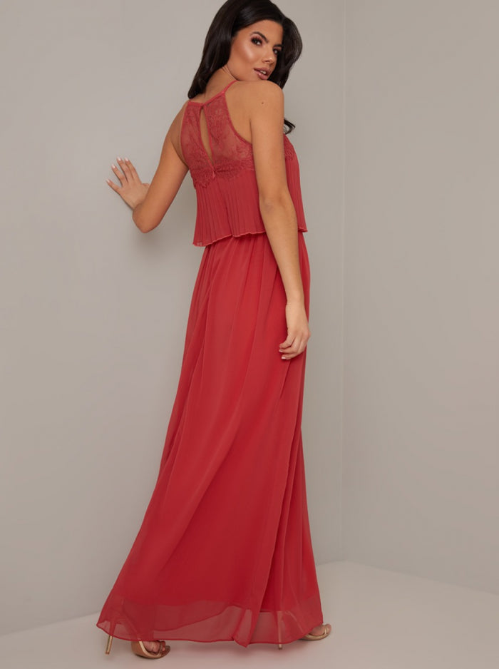 Halter Neck Pleat Lace Bodice Maxi Dress in Red