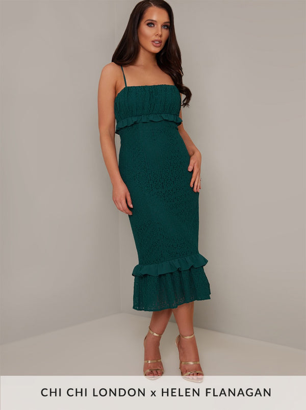 Cami Strap Frill Lace Midi Dress in Green