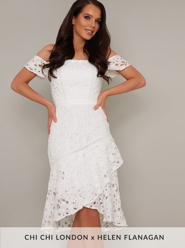 Bardot Lace Crochet Peplum Hem Midi Dress in White