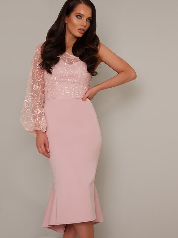Lace Overlay Bodycon Peplum Hem Midi Dress in Pink