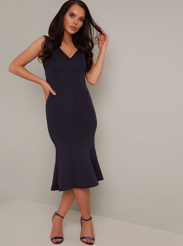 Bodycon V Neck Midi Dress in Blue