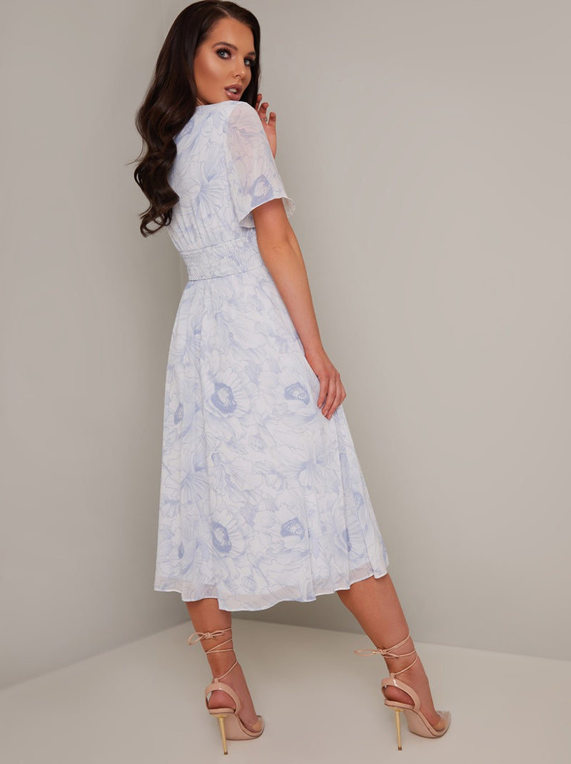 V Neck Short Sleeve Midi Floral Dress in White