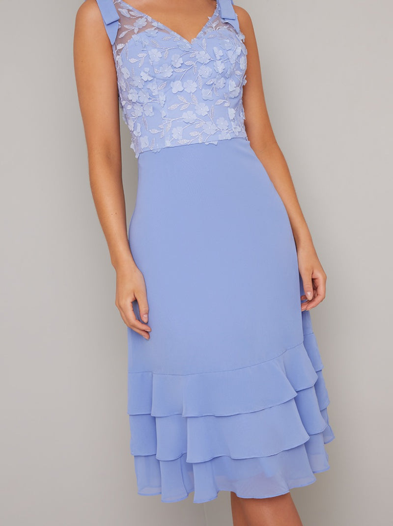 Floral 3D Bodice Ruffle Hem Midi Dress In Blue