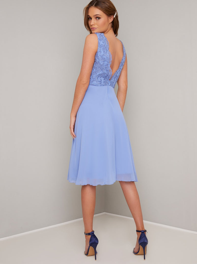 Lace V Neck Chiffon Midi Dress in Blue