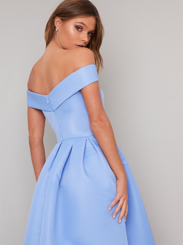 Fold-Over Bardot Plain Midi Dress in Blue