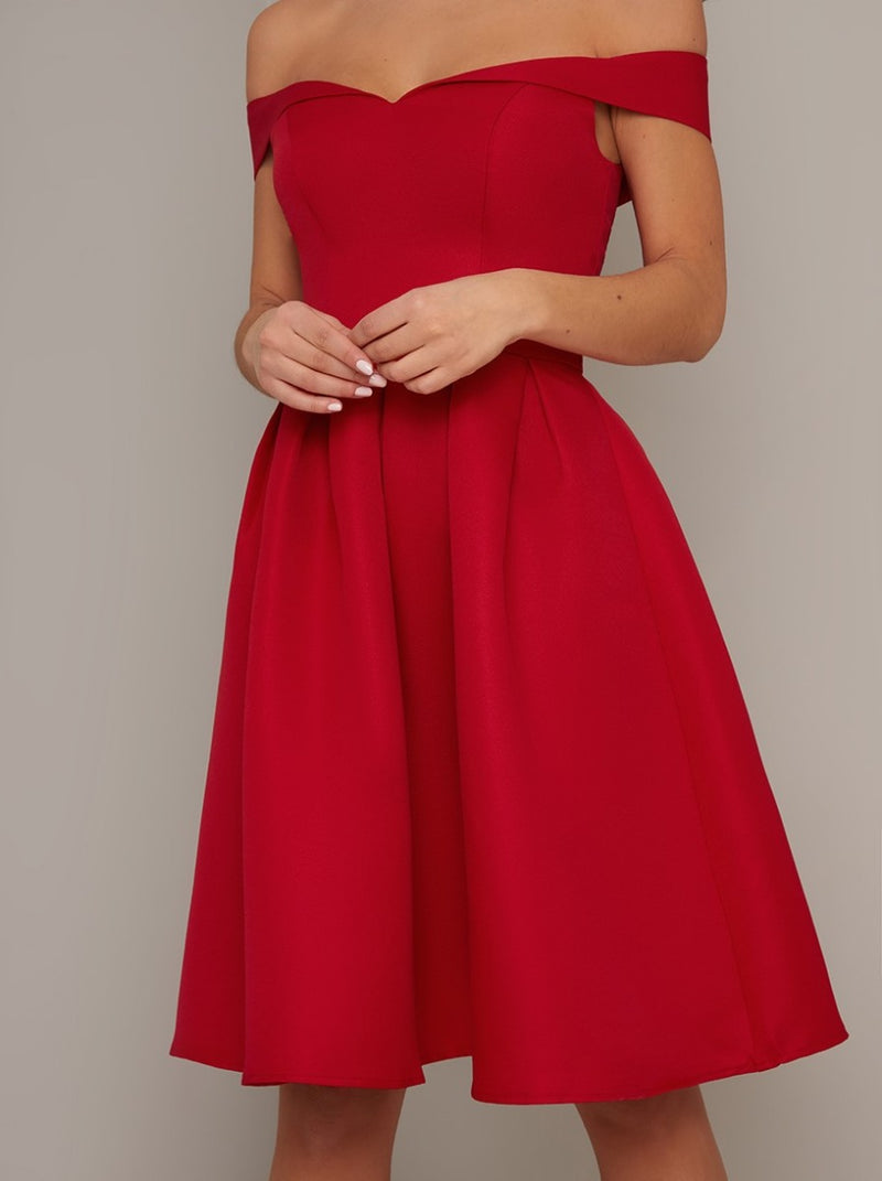 Bardot Box Pleat Skater Dress in Red