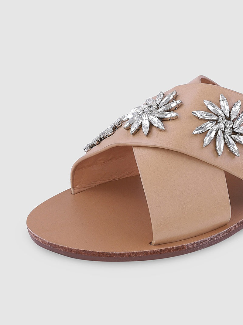 Diamante Detail Flat Mule Sandals in Tan