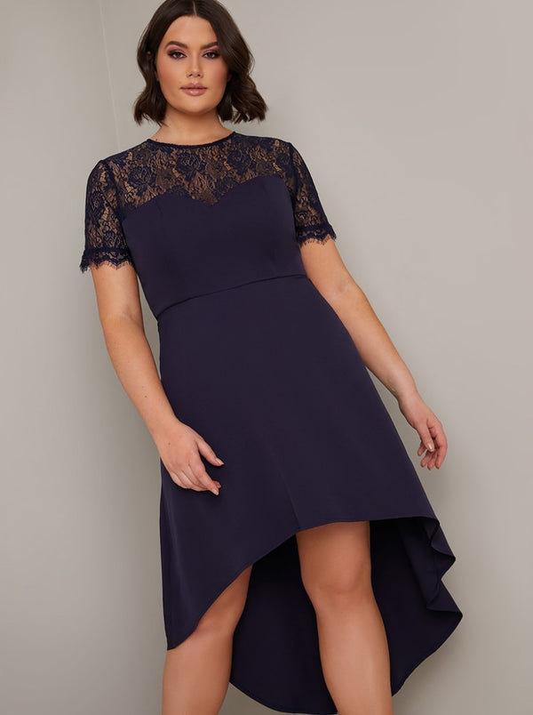 Plus Size Sheer Lace Bodice Dip Hem Midi Dress in Blue