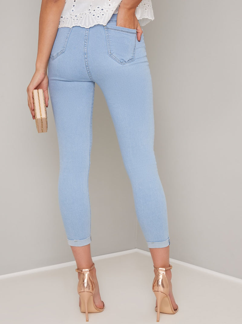 Washed Slim Fit Crop Jeans in Blue