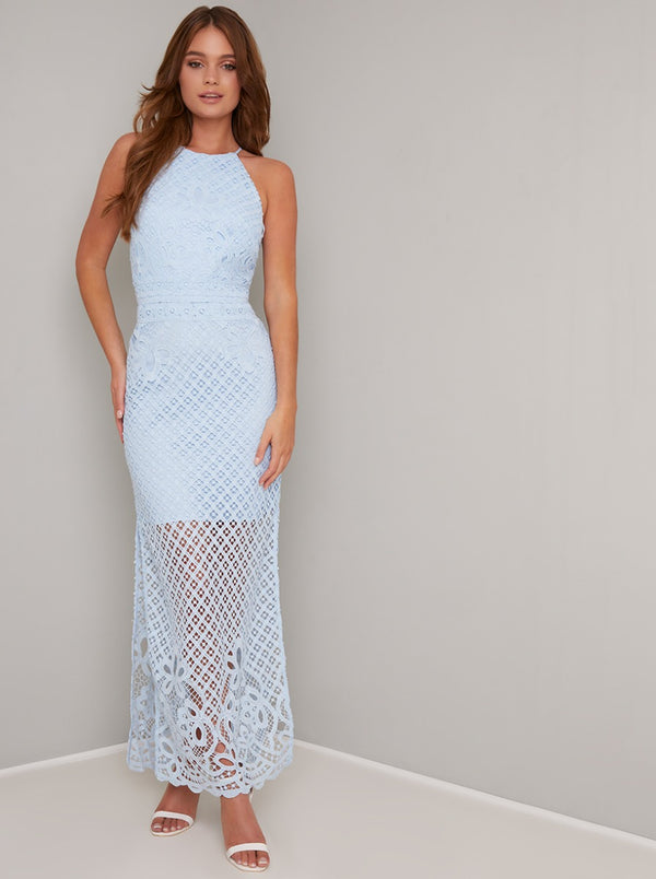 Lace Overlay Bodycon Maxi Dress in Blue