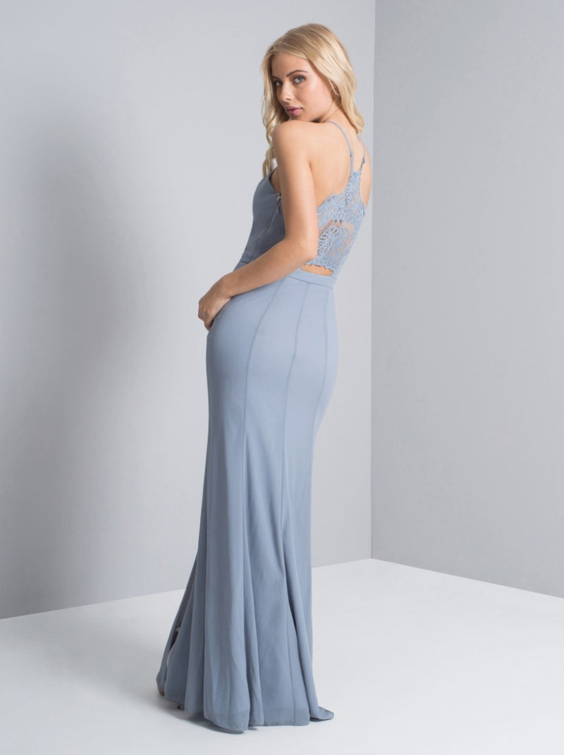 Lace Back Fitted Maxi Dress in Blue