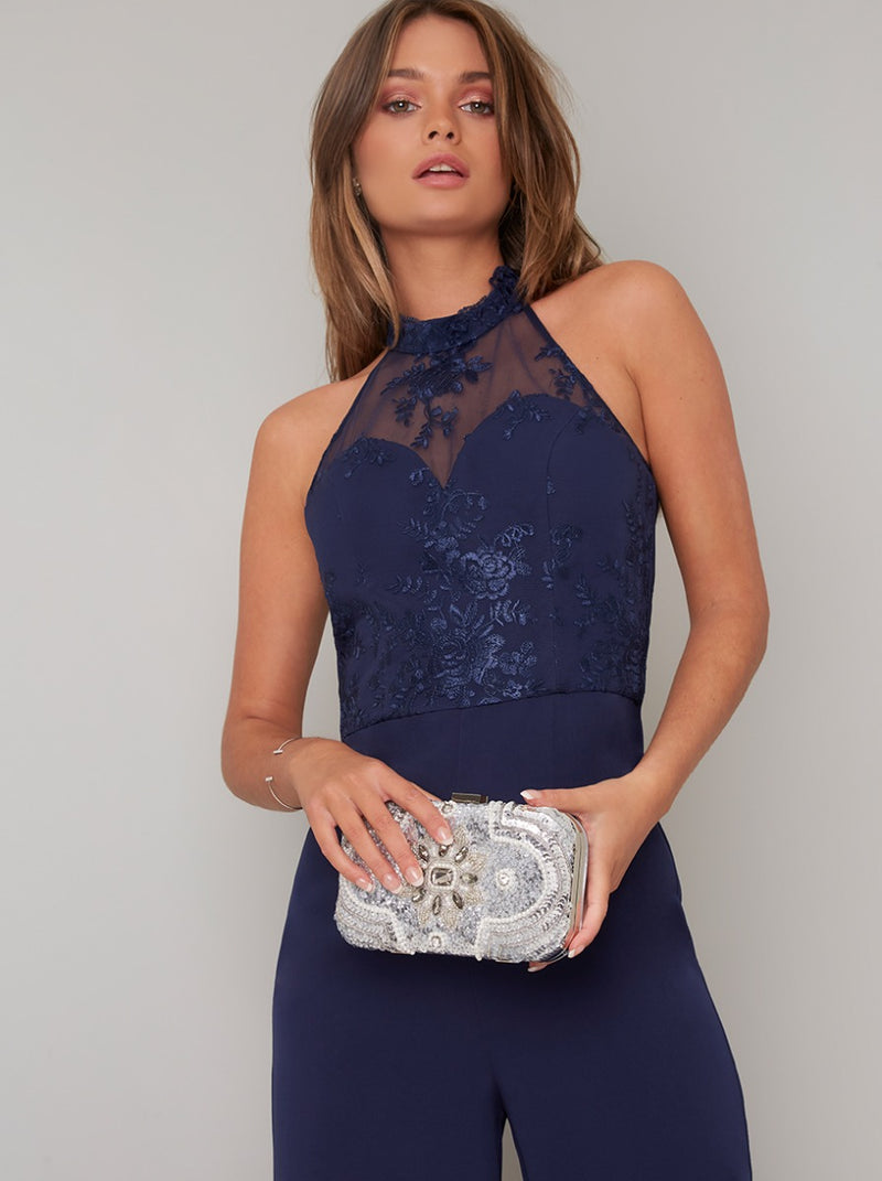 Halter Design Lace Bodice Flared Leg Jumpsuit in Blue