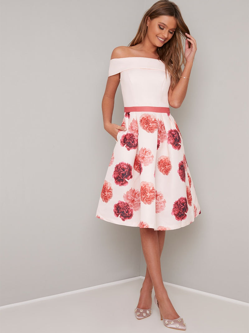 Bardot Neck Floral Print Midi Dress in Pink