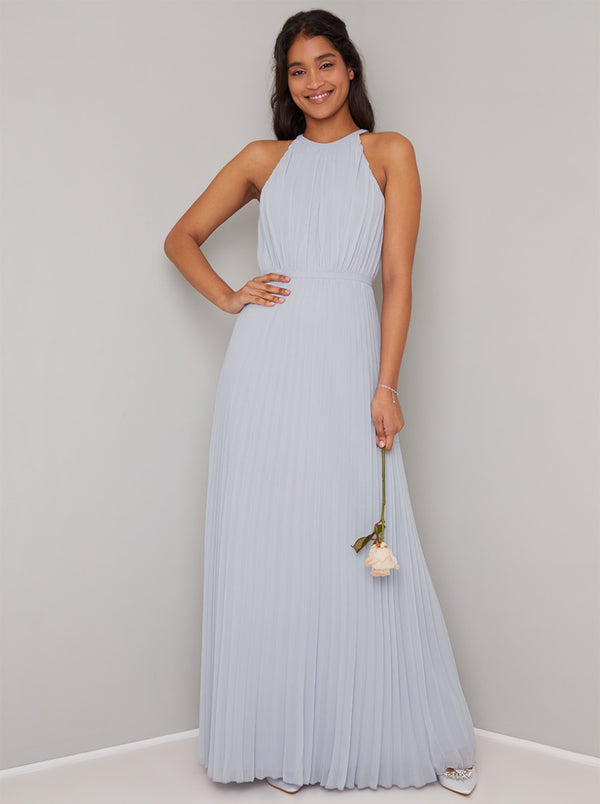 Halter Neck Detail Pleat Bridesmaid Maxi Dress in Blue