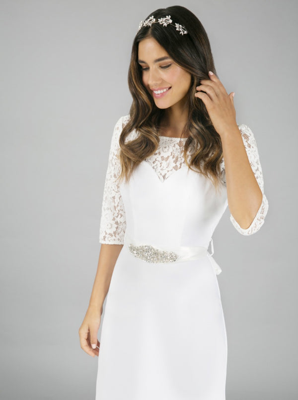 Embroidered Lace High Neck Bridal Dress in White