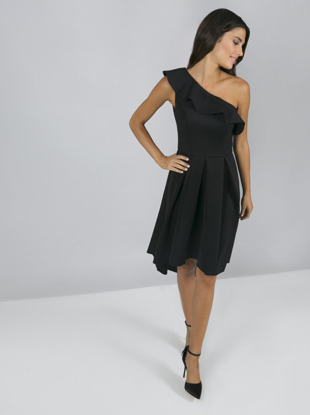 One Shoulder Frill Detail Midi Dress In Black