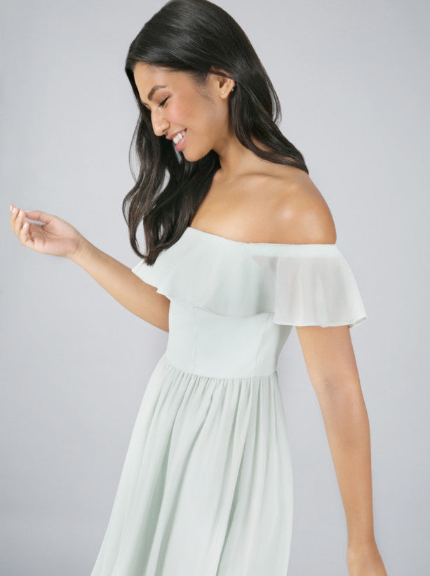 Frill Detail Bardot Mini Dress In Green