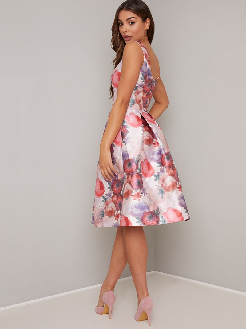 Floral Print Midi Dress with Fitted Bodice in Pink