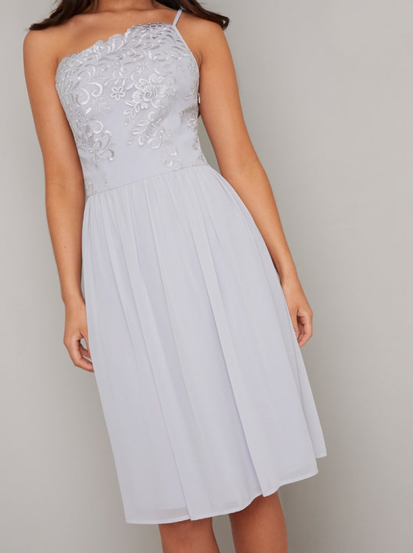 Lace Bodice Detail Midi Dress in Blue