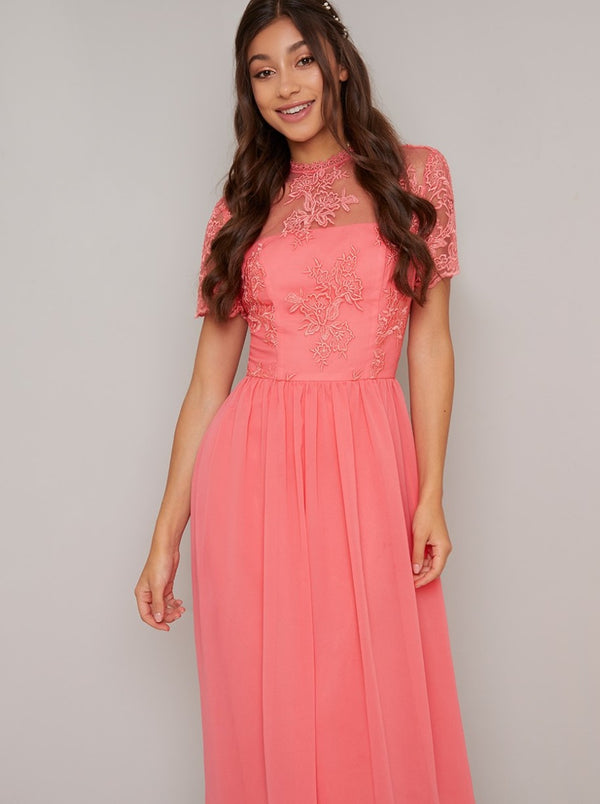 Embroidered Short Sleeved Midi Dress in Coral