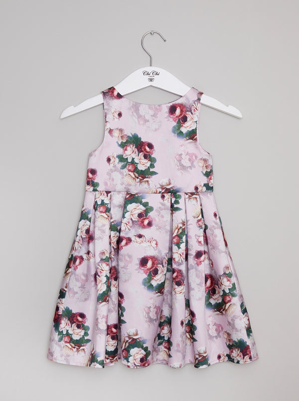 Girls Floral Skater Dress in Pink