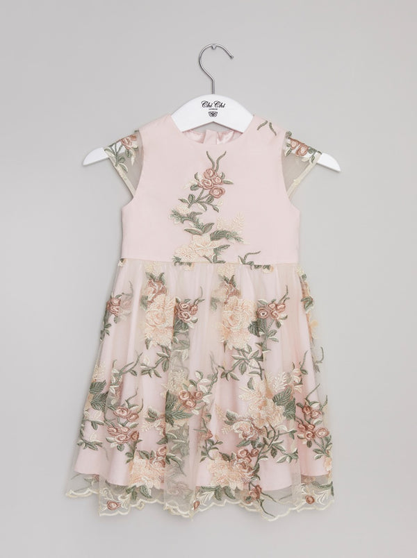 Girls Lace Embroidered Dress in