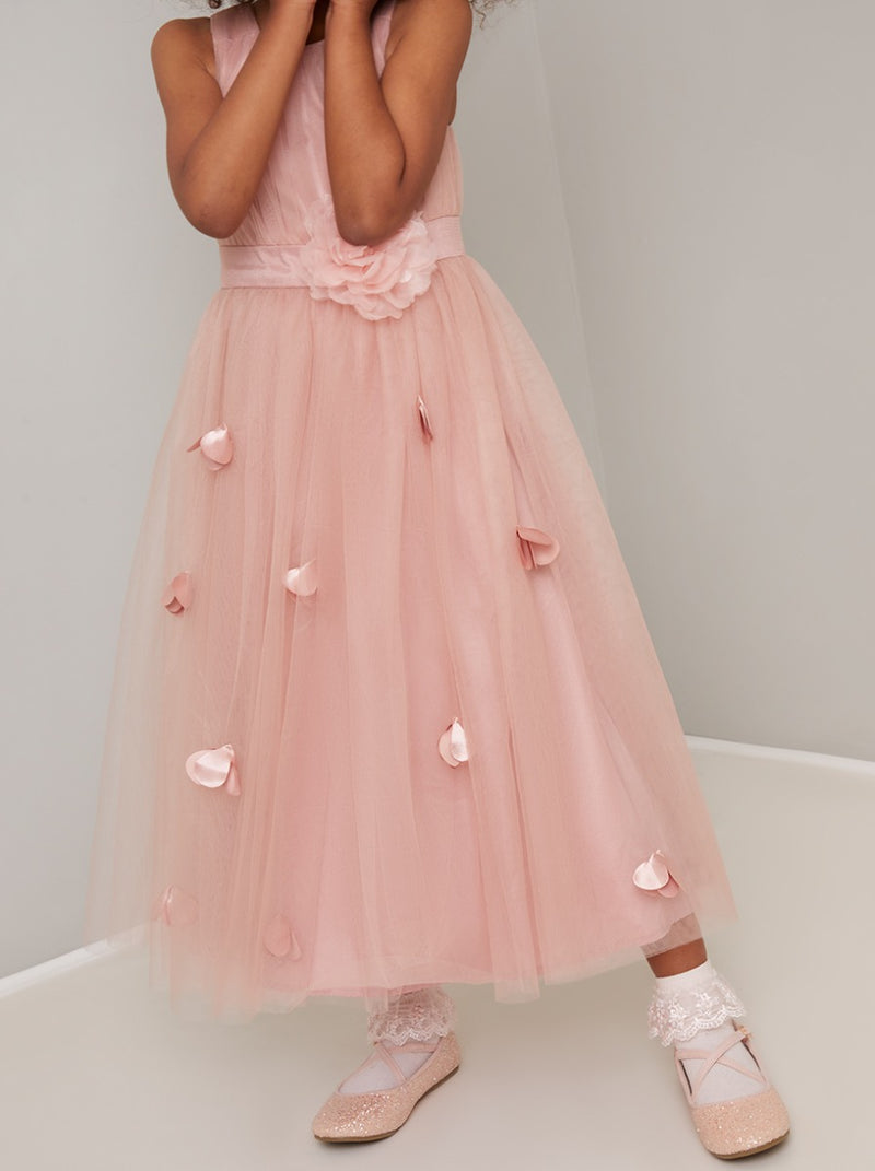 Girls 3D Floral Tulle Flowergirl Maxi Dress in Pink
