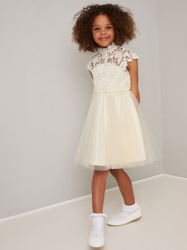 Girls Lace Bodice Tulle Flowergirl Dress in Cream