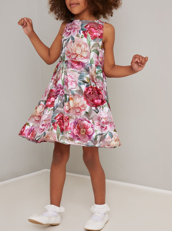 Girls Bold Floral Print Midi Dress In Multi