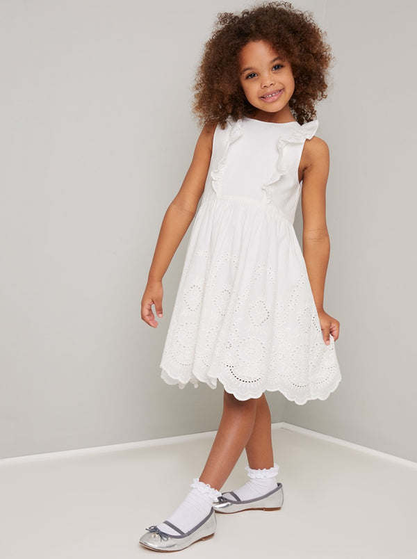Girls Frill Detail Broderie Dress in White