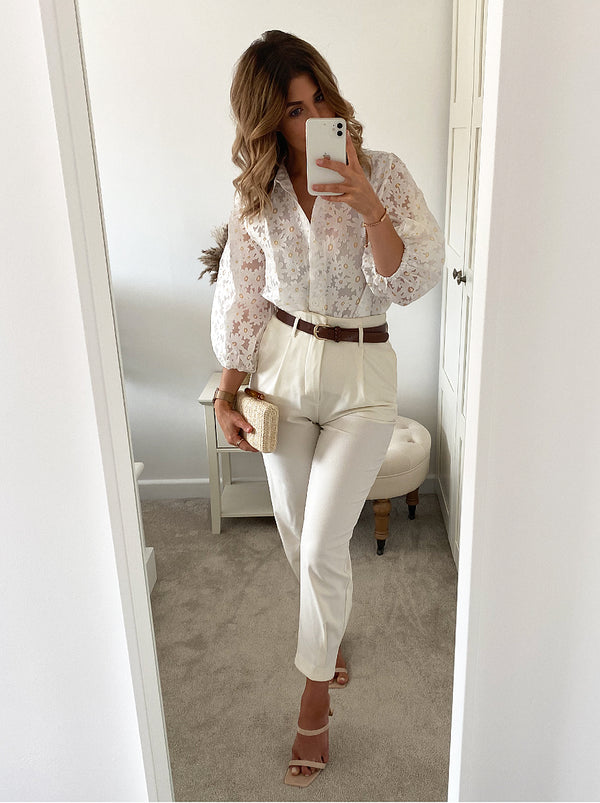 Ballon Sleeve Lace Top in White