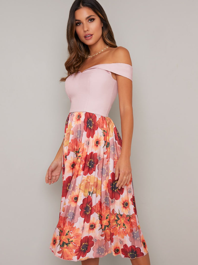 Fitted Bardot Bodice Floral Print Midi Dress in Pink