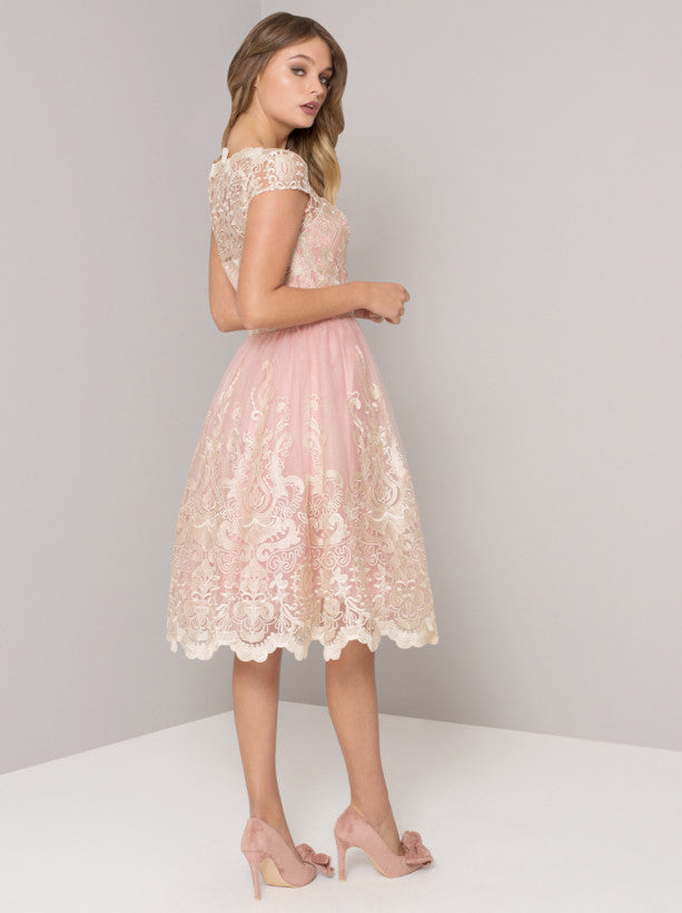 Baroque Style Embroidered Tea Dress in Vintage Rose