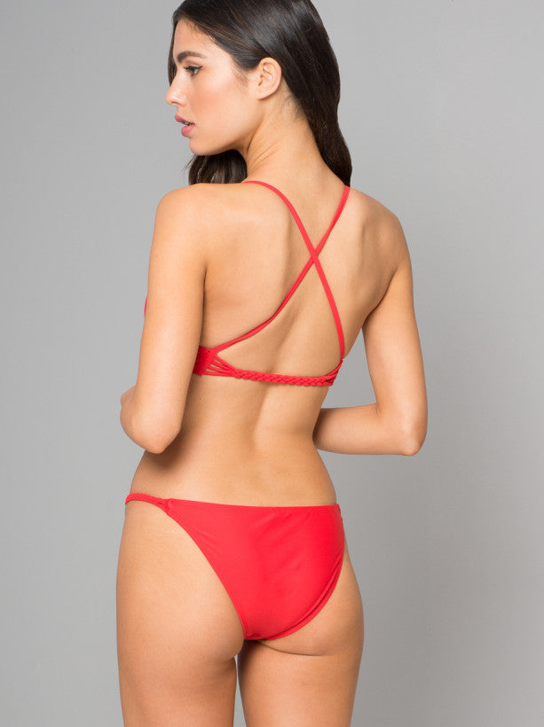 Plait Detail Bikini Bottoms in Red