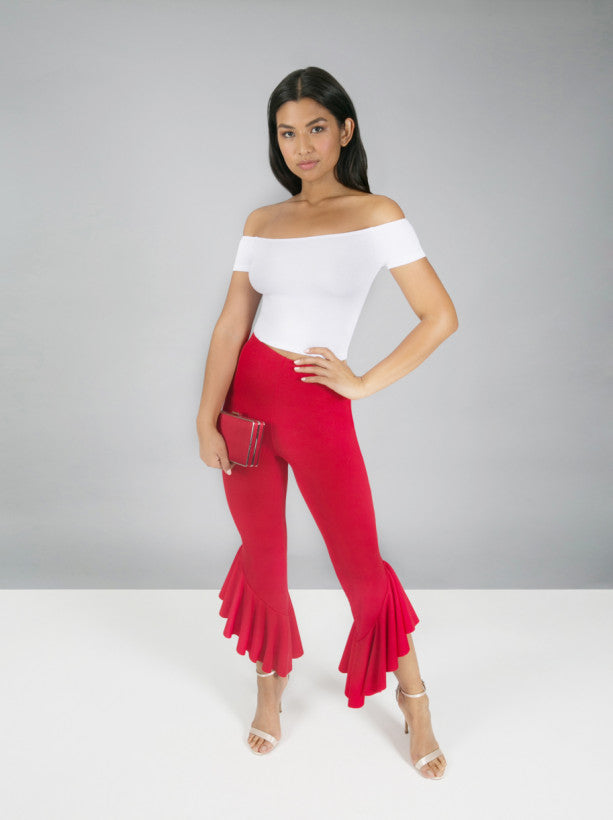 Draped Frill Crop Trousers in Red