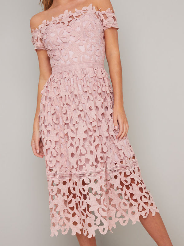 Bardot Lace Midi Dress in Mink