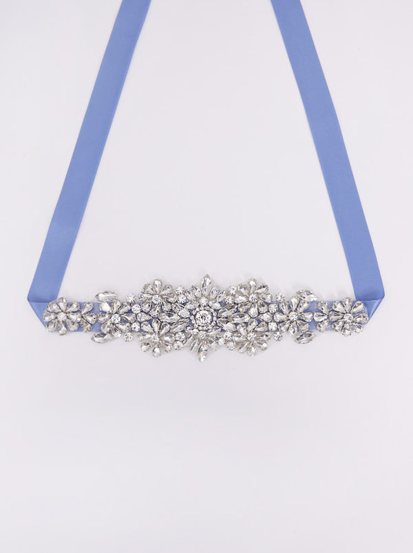 Satin Waist Belt with Sequin Detail in Blue