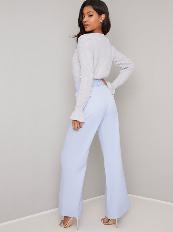 Belt Detail Wide Leg Trousers in Blue