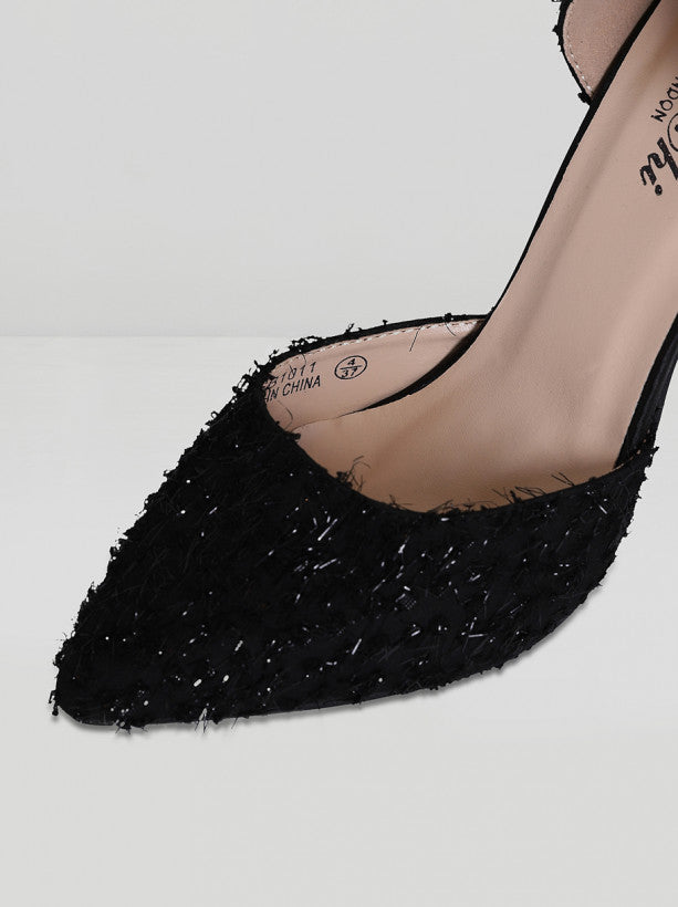 High Heel Sparkle Court Shoes in Black