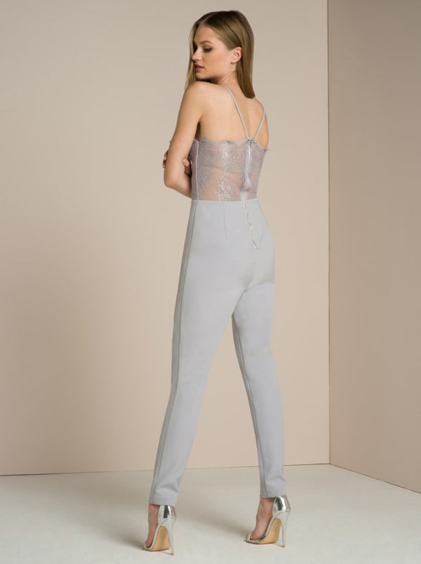 Sheer Lace Back Slim Fit Jumpsuit in Grey