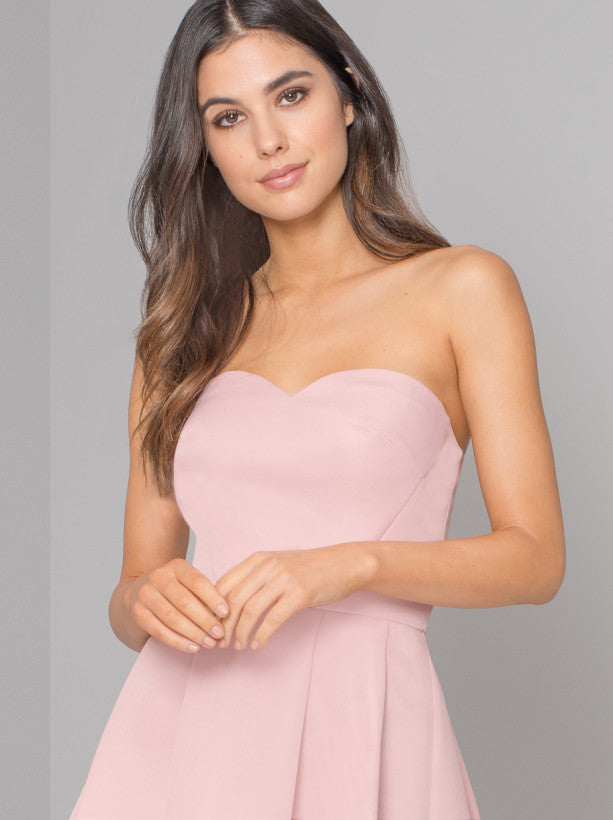 Bandeau Dip Hem Midi Dress in Pink