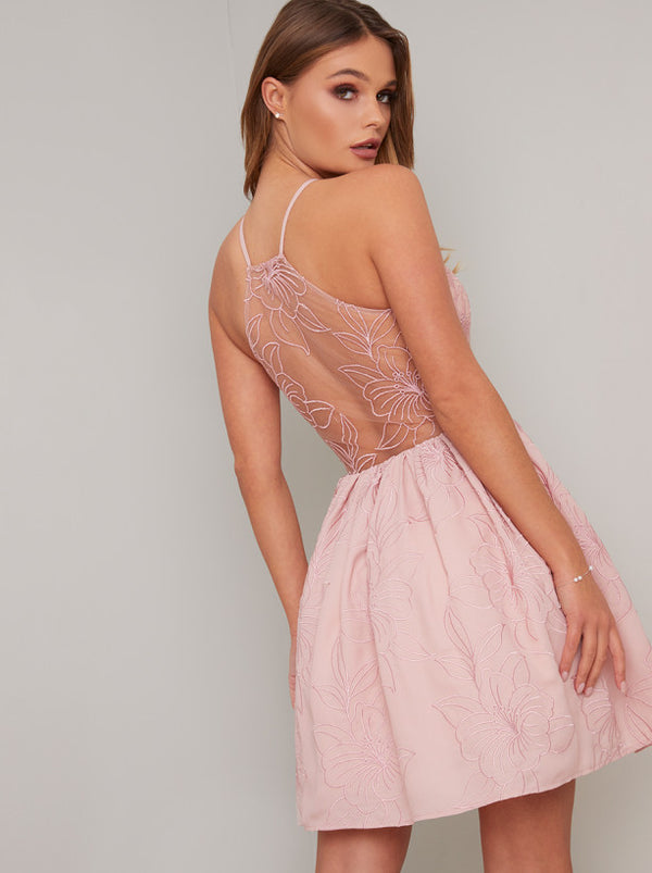 Lace Detail Sheer Back Mini Dress in Pink