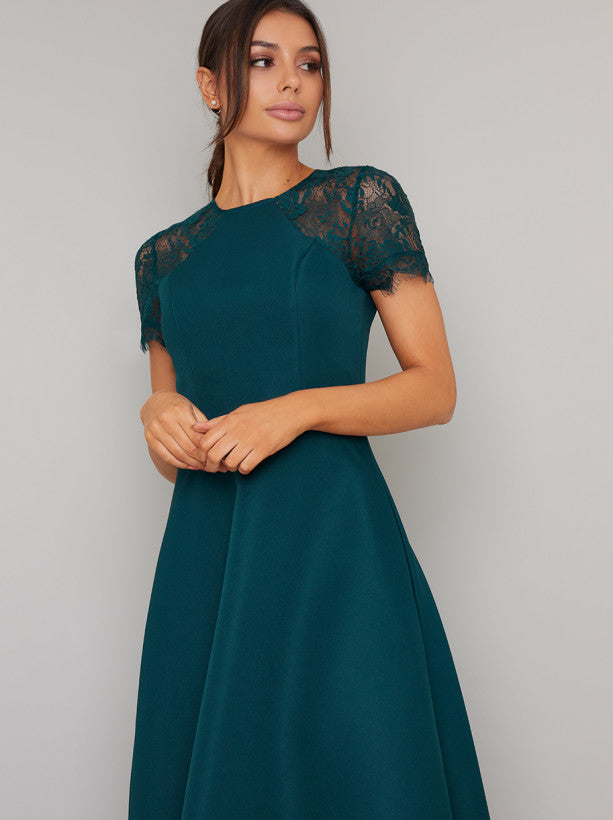 Sheer Lace Dip Hem Midi Dress in Green