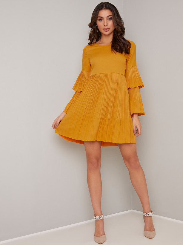 Tiered Detail Flare Sleeved Mini Dress in Yellow