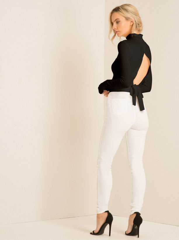 Embroidered Detail Skinny Jeans in White