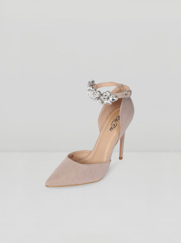 High Heel Embellished Strap Court Shoe in Beige