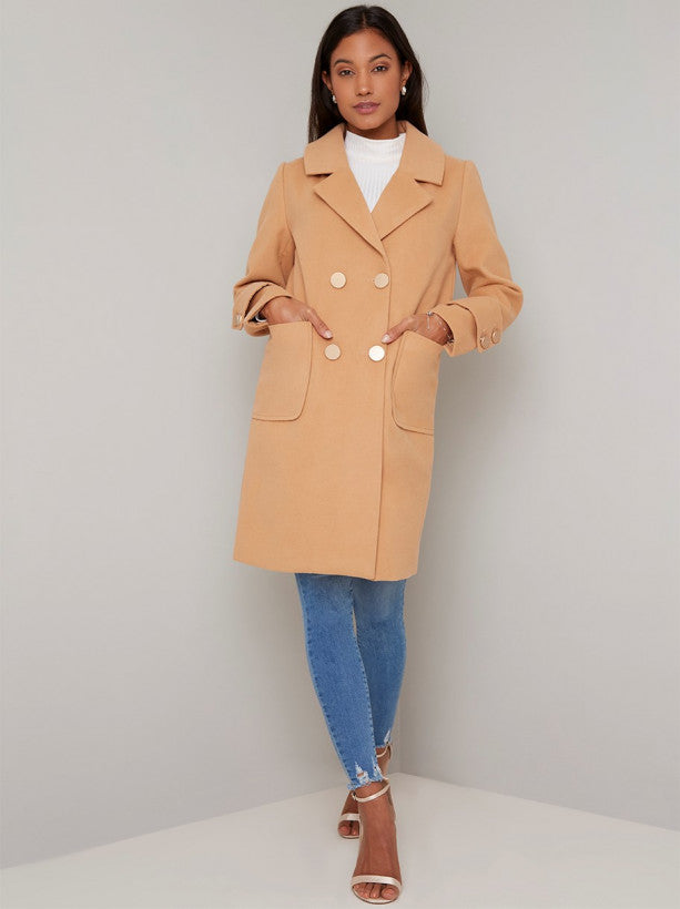 Longline Double Breasted Coat in Camel