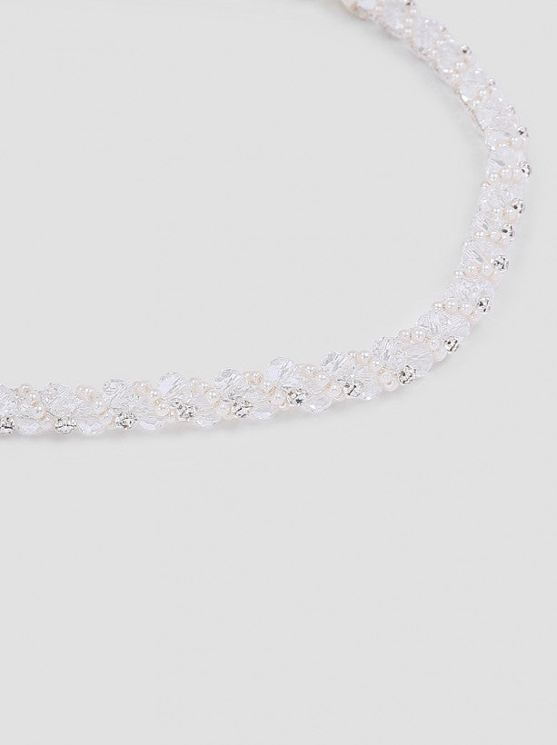 Diamante Beaded Hairpiece in Cream