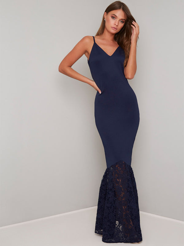 Cami Strap Bodycon Lace Fishtail Maxi Dress in Blue